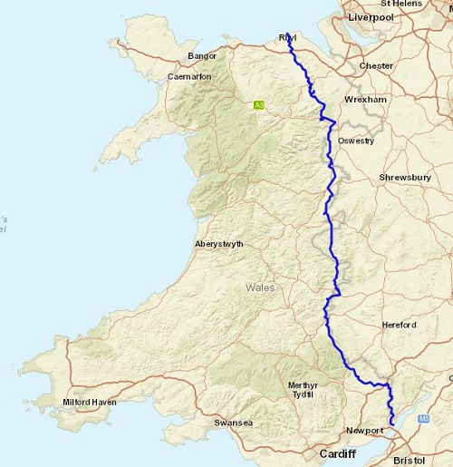 The route of the Offa's Dyke Path National Trail