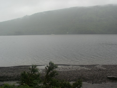 Looking over Coniston Water in the gloom