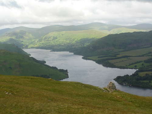 A cairn overlooking Ullswater on Arthurs Pike