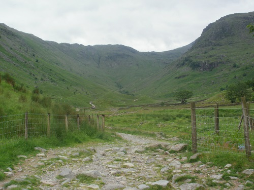 Looking up the valley from near the start at Seathwaite