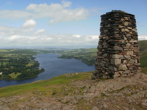 The summit cairn on Hallin Fell and Ullswater