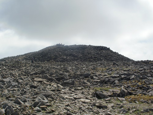 Nearly up at the summit on Scafell Pike