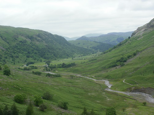 Looking back towards Seathwaite and the line of parked cars