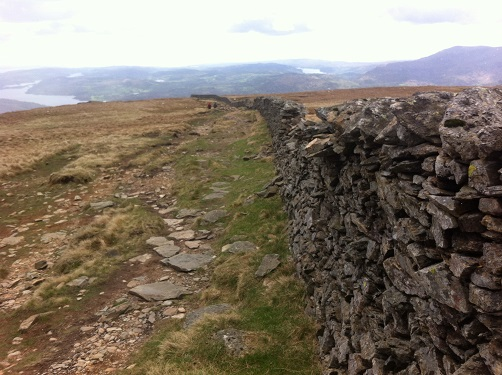 The long wall leading to High Pike from Dove Crag