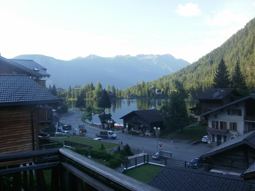 The view from my apartment in Champex as the sun starts to set