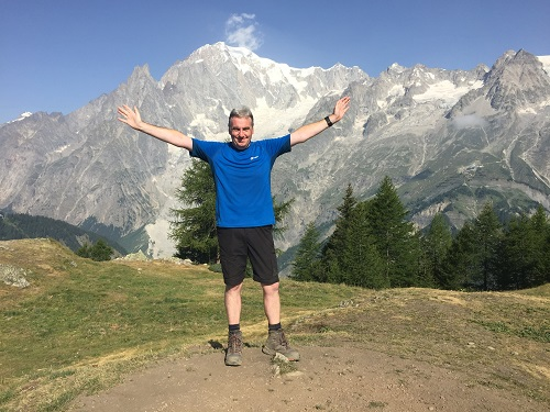 Standing in front of Mont Blanc on my TMB walk in July 2017